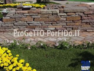 muro sassi grezzi porfido secco