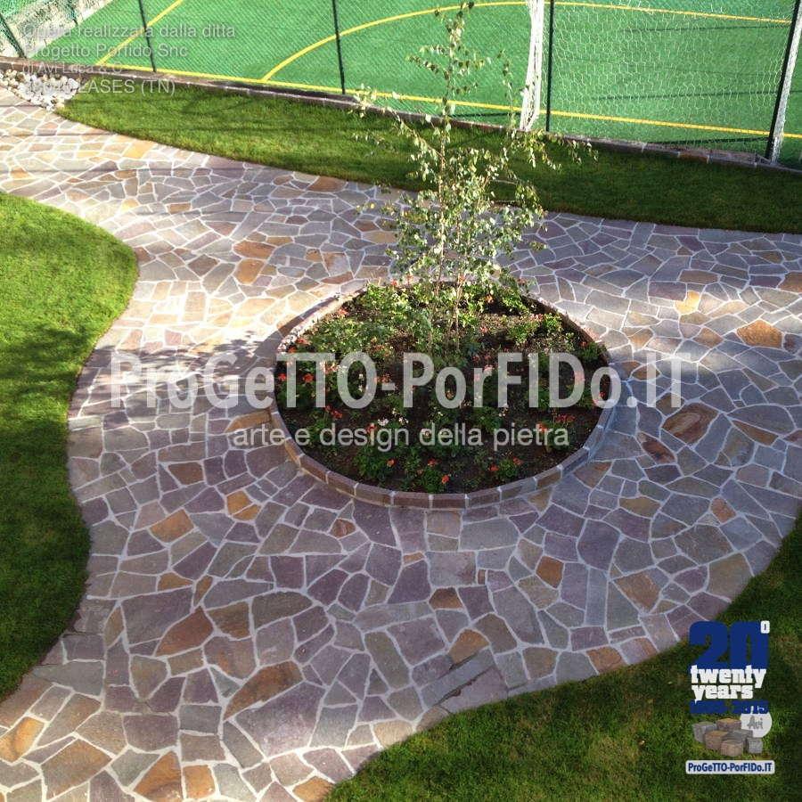 lavori di porfido in giardino zona Trento