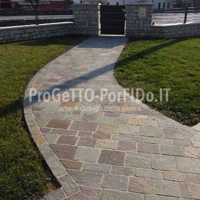 marciapiede piastrelle porfido diagonale