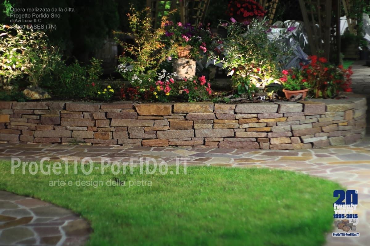 Posa Pavimento A Secco Giardino muri a secco e pavimento di porfido trentino realizzati da