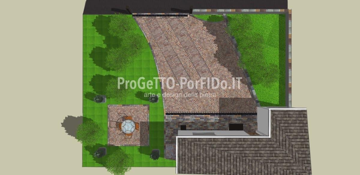 progetto rendering cortile in porfido trentino