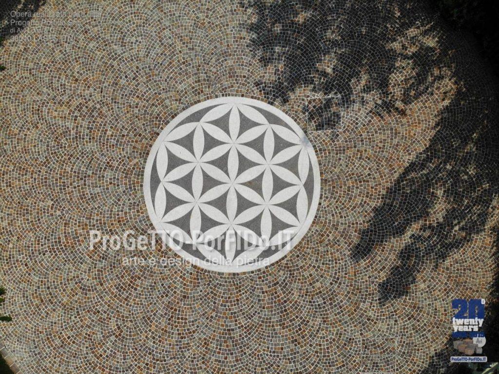 pavimentazione piazza con cubetti di porfido