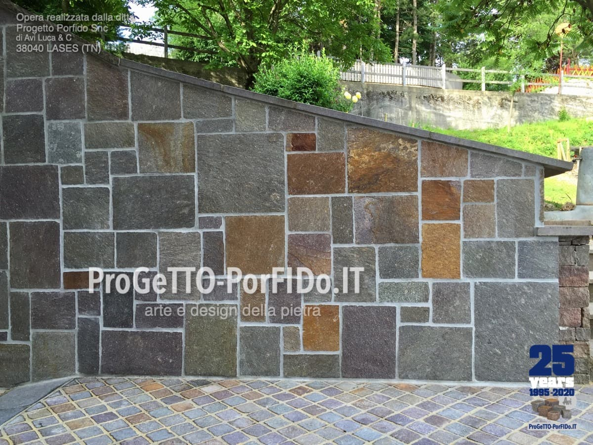 Muro Fatto In Pietra rivestimento muri con pietre naturali e porfido - progetto
